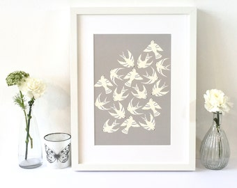 Art Bird print / Walll art / For the bird lover / Gift for her / Free UK shipping