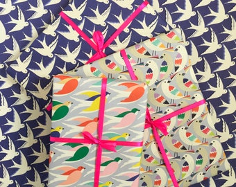 Bird wrapping paper / 6 sheets / Gift wrap / Digitally Printed / 50cm x 70cm / Bird pattern / Bird illustration/ UK printed