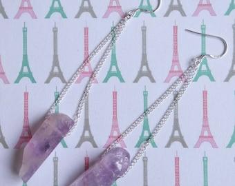 925 Silver earrings dangling stones semi precious amethysts/ears/money/jewelry/the Zelina jewelry earrings