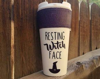 Resting witch face Travel mug, fall mug, Halloween mug,  funny mug, funny travel mug, glitter dip mug, glitter mug, custom travel mug