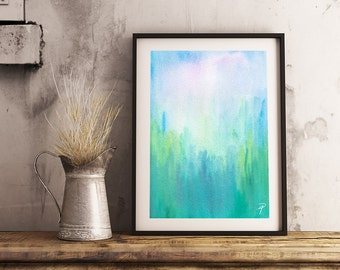 "GREENWO0DS - Green Woods Abstract Watercolor Painting Large Photo Poster Print (Sizes  18"" X 12"" / 24"" X 16"" / 36"" X 24"") - Nature Blue"
