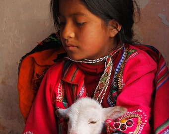 Peru, Child, Young Girl, Colorful, Inca, Lamb, Friend, Gallery-wrapped Fine Art Photograph on Canvas, Metal, Picture, Ready to Hang Wall Art