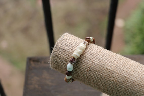 Brown Beaded Bone Bracelet