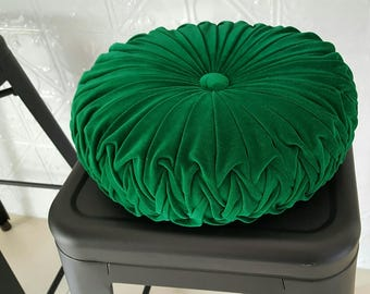 Emerald Green Vintage Style Velvet Cushion