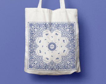 Tote Bag Blue, Bandana Pattern, coton bag, canvas bag, beach bag, pattern, California