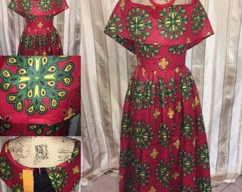 Beautiful red/green off-shoulder African dress