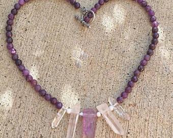 Lepidolite, Howlite, Clear Quartz, Amethyst Necklace Healing Crystals Gemstone Jewelry Chakra Balancing Reiki Blessed