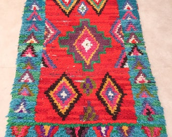 """ON SALE, Moroccan Boucherouite rug, """"Number 8"""", Vintage rag rug, Berber rug, Moroccan decor, Boucherouite carpet, Colorful Boucharouette"""
