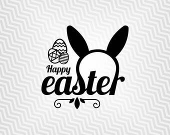 Happy Easter, Easter Bunny, Cutout, Vector art, Cricut, Silhouette Cameo, die cut, instant download, Digital Cut, Print Files, Ai, Pdf, Svg