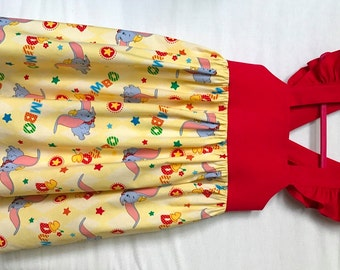 Dumbo Dress, Disney Dress, Baby Girls Dress, Little Girls Dress, Dumbo Party Dress, Flutter Sleeve Dress
