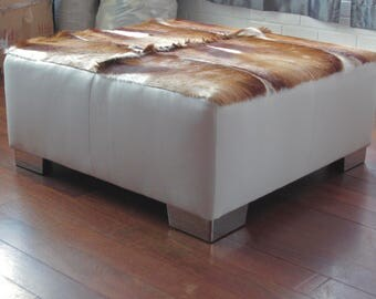 Fantastic New Designer Cowhide Leather And Springbok Ottoman Coffee Table