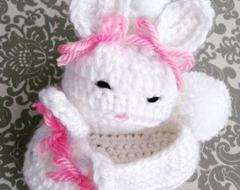 Baby Bunny Crochet Booties - Baby Easter Gift - Newborn Bunny Booties - Baby Girls Shoes - Easter Bunny Baby Shoes - Bunny Ear Slippers