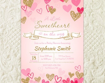 Sweetheart Baby Shower Invitation, Little Sweetheart Pink Gold Invite, Valentine's Baby Shower Invitation, Heart Confetti Sweetie Invitation