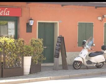 Italian Cafe and Vespa, Vigonovo, Italy Print