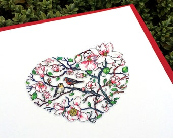 Love card with birds. Birds in Magnolia tree. Card for bird lover. Heart greeting card.