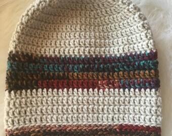 Striped Slouchy Beanie // Hat // Crochet // Handmade // Gift // Womens // Mens // Gift // Grey // Burgandy Verigated