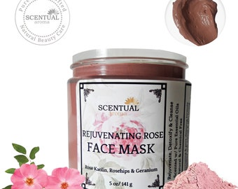Rejuvenating Rose Face Mask, Organic Face Mask, Rose Clay mask, Natural Face Mask, Brightening Face Mask, Gift Idea