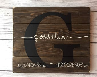 Personalized Latitude Longitude Sign GPS Coordinates Sign, Last Name Wood Sign, Housewarming Gift, Established Sign, New Home, Family Name
