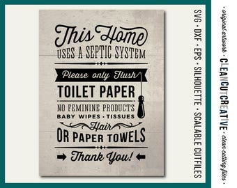 Svg dxf eps cutting files for silhouette cameo by for Bathroom quotes svg