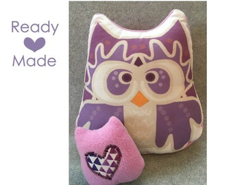 Purple Mama and Baby Night Owl Stuffed Animal, Pillow Plushie