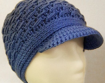 Blue Brimmed Beanie | Intricate Crochet Hat | Woven Crochet Beanie | Light Blue Hat w/ Brim