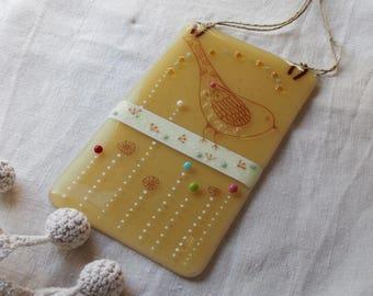Amber bird and beads / / glass/craft/Art wall decor