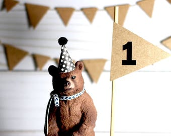 Bear Cake Topper Woodland Animal Cake Topper First Birthday Boy Cake Topper Black and White Birthday Decoration Boy Bear