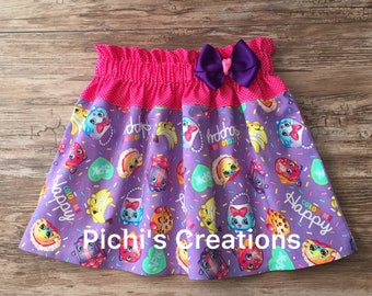 Shopkins Skirt, All around Shopkins Skirt, Skirt with Shopkins Characters , Color Me Happy Shopkins Skirt