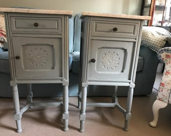 A Pair of Antique French Hand Painted Bedside Cabinets