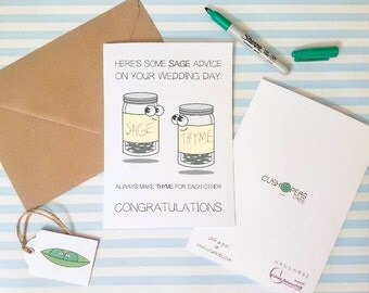Alternative Wedding Card - Sage Advice - Puns - Funny Happy Couple Card - Quirky Marriage Card - Cute Bride and Groom Card - Charity Card