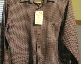Shirt #5, Men's Long Sleeve Shirt, Men's Medium Plaid Shirt