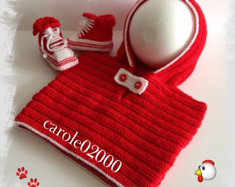 Waistcoat or pullover sleeveless Hoodie + sneakers baby (3/6 months) baby soft and comfortable, red and white wool