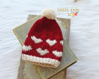 SALE Newborn Valentines Slouchy Hat, Valentines Newborn Hat, Newborn Photography Prop