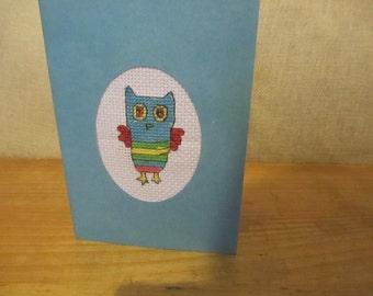 Owl Birthday Card Cross Stitch Handmade Kids Quirky