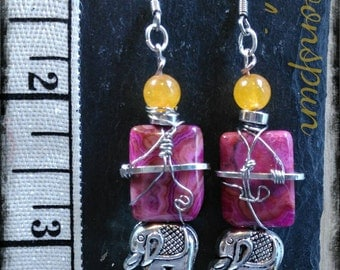 Elephant Dangle Earrings with natural stones of pink crazy lace agate, amethyst & tangerine quartzite.