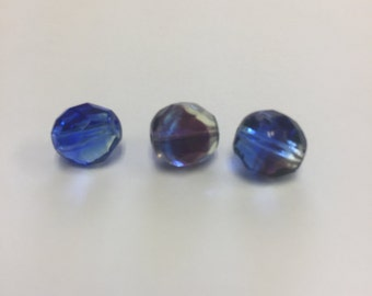 10 mm multi colored Czech bead (10 beads)