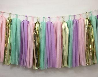 Unicorn Tassel Garland - Girl Birthday Party - Nursery - Photo Prop - Pink Purple Mint