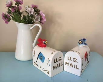 vintage retro kitsch blue and red bird salt and pepper shakers - huge