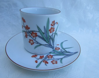 SALE:  Set of Five Vintage Porcelain Signed Japanese Demitasse Cup and Saucer Floral Design