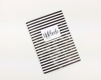 Notebook A6 journal 56 pages, black white travel notes, diary, Bulletjournal, custom, designer paper, striped