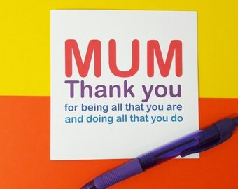 Thanks mum card | Thank you for all you do | Mother's day card | Thank you card