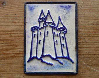 French Rubber Stamp on Metal Back, Ink Stamps, Castle Design