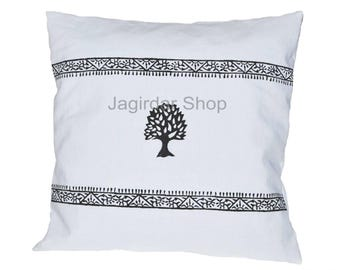 Block Printed Natural Tree Cushion cover, jaipur Hand block Printed Cushion cover