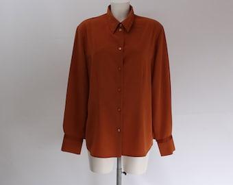 Vintage • Blouse • Shirt • Women's Brown Blouse • Women's Button Up Blouse • Orange Blouse • Women's Shique Shirt • Hipster • Mod • Classic