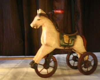 Vintage Toy Horse with Wheels - Free Shipping