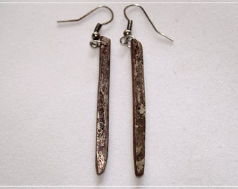 Mokume gane long earrings