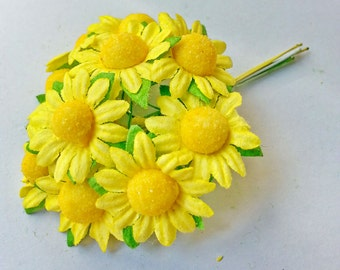 50 pcs. SUNFLOWER mulberry paper flower yellow color 2 cm.,scrapbook,home decor,wedding & headband,other crafts
