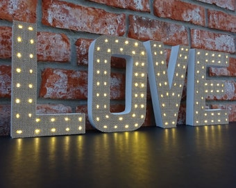 Marquee Letters - Unique Lighted Letters - Burlap Decor - 8 Inch Paper Mache Letters with Battery Operated LED Fairy Lights -- Lighted Decor
