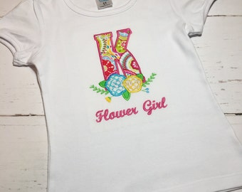 Personalized Flower Girl Shirt, Monogrammed Flower Girl Shirt, Embroidered Flower Girl Shirt, Flower Girl Shirt, Kids Flower Shirt