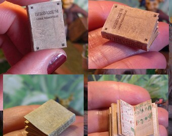 Miniature illustrated book . HERBARIUM liber medicinalis. medieval herbal medicine . OPENABLE .tutorial . DOWNLOAD - Scale 1:12